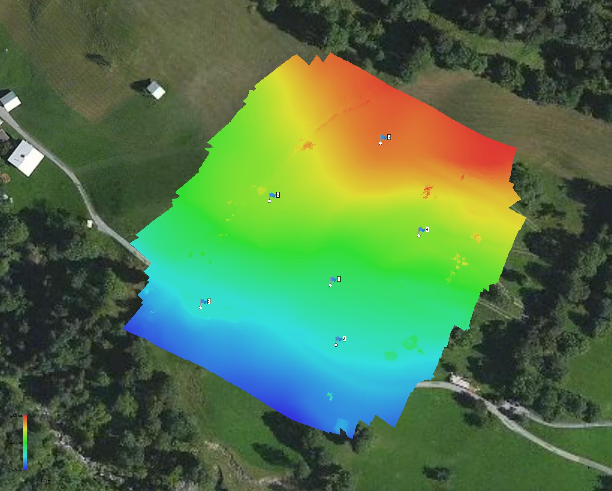 Höhenmodell erstellt mithilfe einer Drohne