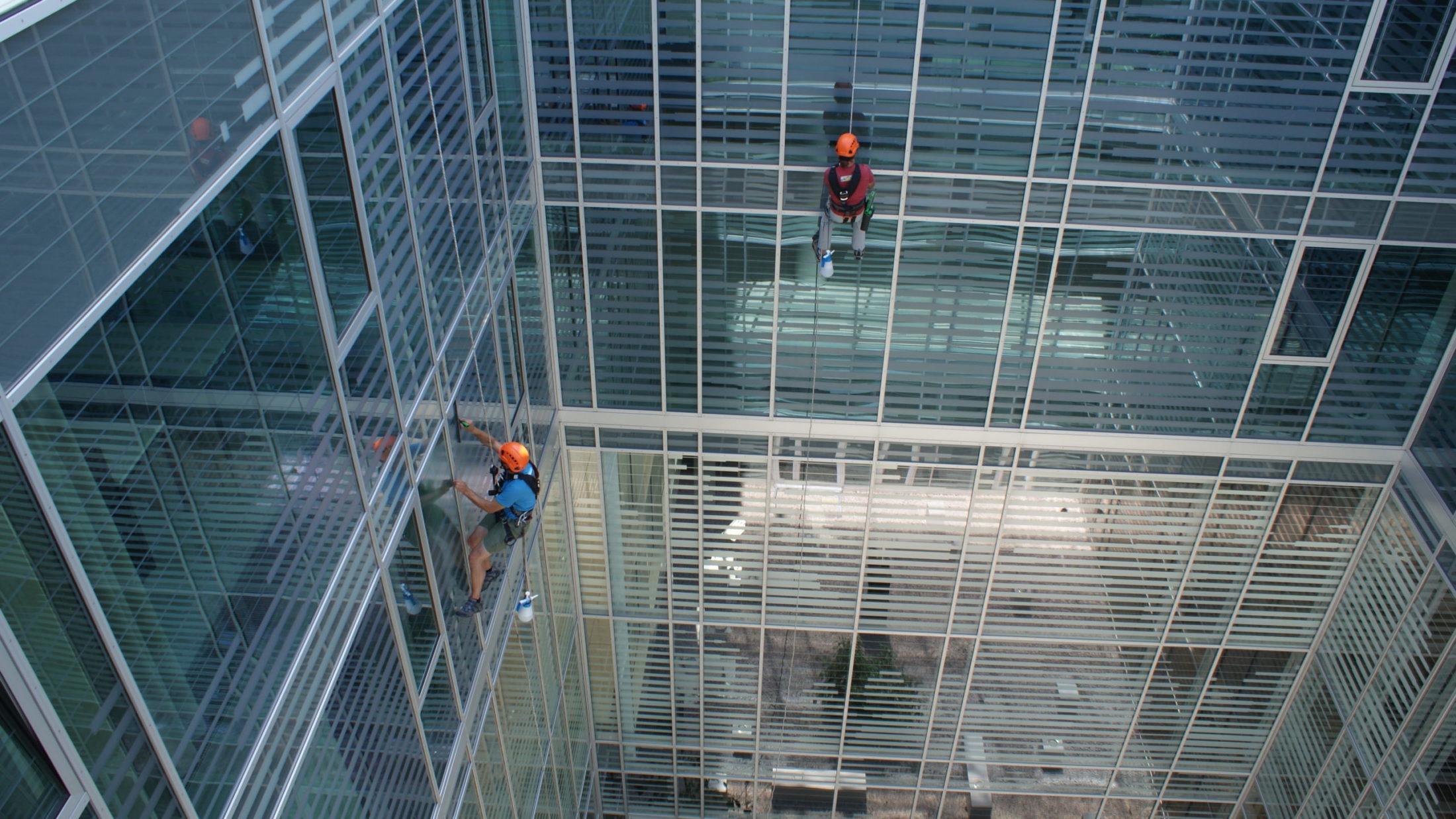 2 Männer am Seil bie der Fassadenreinigung eines Gebäudes mit großen Glasflächen